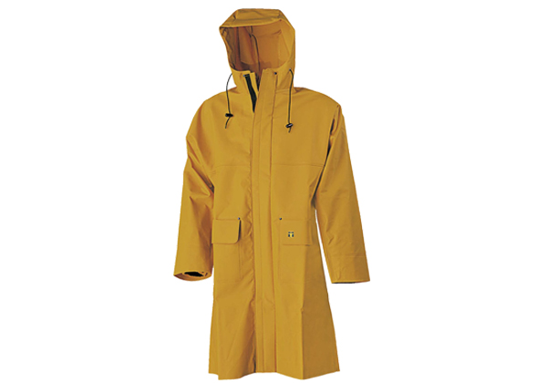 This knee length Guy Cotten long coat is made from 100% nylpeche material for excellent waterproofing. It features kimono cut for ease of movement.