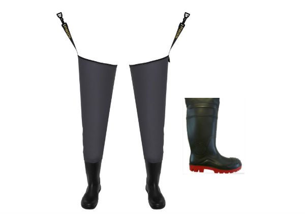 Our strong hip waders from PROS EXTREME are a combination of high quality PVC boots welded to rubber thigh waders. Extremely good value for money.