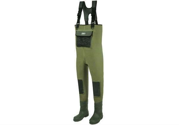 These competitively-priced neoprene HYDORFORCE CHEST WADERS from DAM are equipped with adjustable nylon webbing shoulder straps and a front neoprene outer pocket.