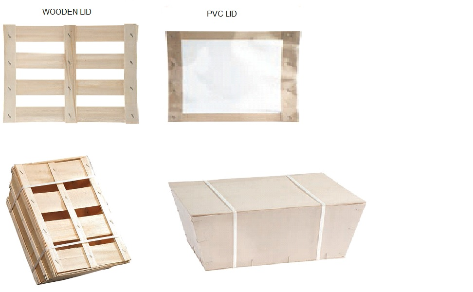 Selection of lids for wooden baskets