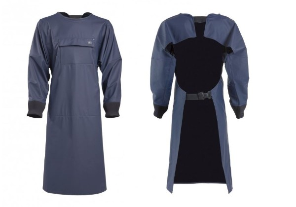 Delphis Apron with Sleeves. Comfortable & waterproof. Full sleeves with neoprene cuffs. Full shoulder coverage as well as side protection.