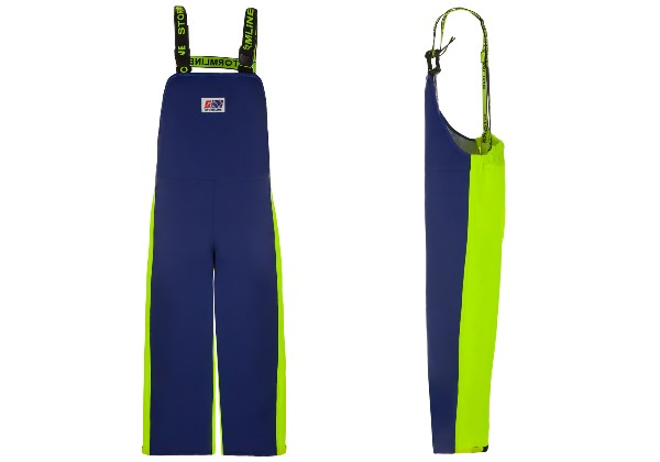 The Crew Bib 654 are the most popular Bib & Braces in the Stormline range. Featuring double-layer PVC, knee pads, elasticated waist and ankles.