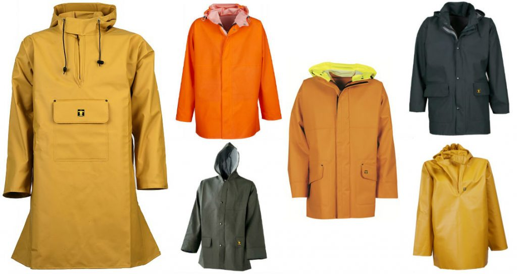 A selection of oilskin jackets and smocks