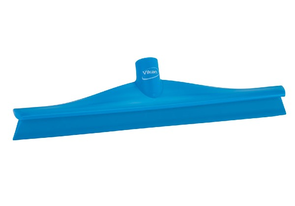 The ultra hygienic Vikan Blue floor squeegee is made from 1 piece of flexible Food Grade thermoplastic rubber. Fully-molded floor wiper.
