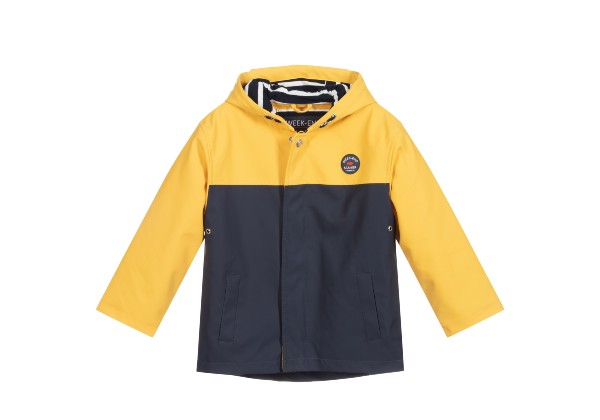 Bright yellow & navy blue children's waterproof jacket by French brand Week-end à la mer. Hooded, with a cosy fleece lining.