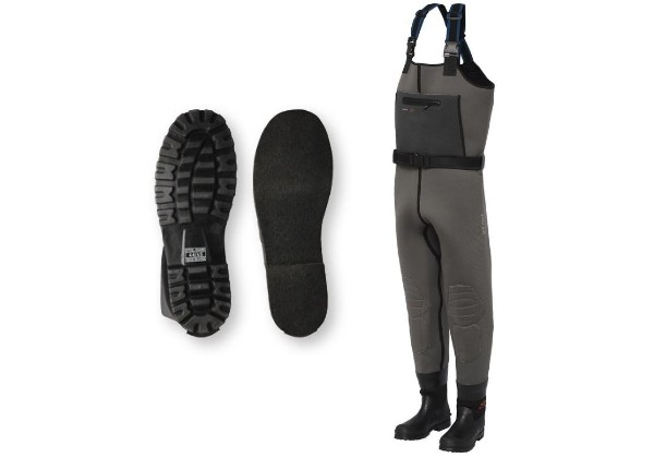 Neoprene chest waders, perfect for anyone who will be standing for extended periods in cold water. Comfortable fit. Solid boot.